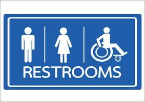 Símbolo de banheiro masculino feminino e cadeira de rodas Handicap ícone vetor