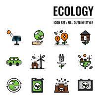 ícone de contorno cheio de ecologia