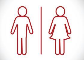Ícone de banheiro e pictograma homem Mulher de sinal