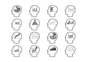 Ícones de gráfico de cabeças pensando vetor