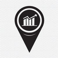 Ícone de gráfico de ponteiro de mapa vetor
