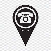 Ponteiro de mapa ícone de telefone antigo vetor