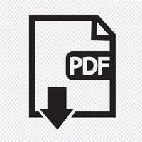 Sinal de símbolo de ícone PDF vetor