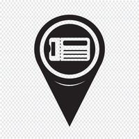Ícone de bilhete de ponteiro de mapa vetor