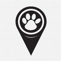Ponteiro de mapa ícone de impressão de pata vetor