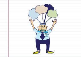 Caricatura, homem, pensando, estilo, ilustração vetor