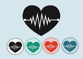 Ícones de onda do coração vetor