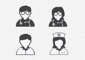 Doutor, enfermeira, paciente, doente, ícone, sinal, símbolo, pictograma vetor