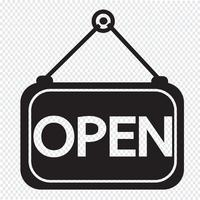 ícone aberto sinal de símbolo vetor