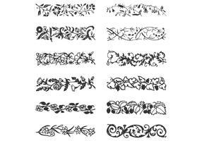 Conjunto de vetores de bordas de videira frondosas