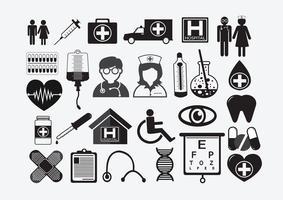 Sinal de símbolo de ícones médicos vetor