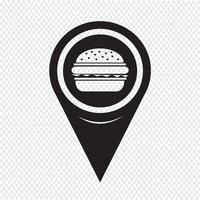 Mapa Pointer Burger icon vetor