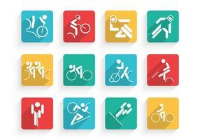 Conjunto de vetores de ícones de ciclismo