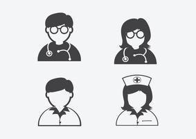 Doutor, enfermeira, paciente, doente, ícone, sinal, símbolo, pictograma
