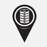 Ícone Pin Map Pointer Money vetor