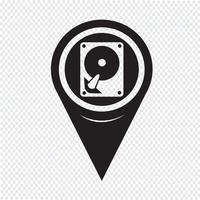 Ícone de disco rígido de ponteiro de mapa