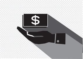 Ícone do dólar de mão vetor