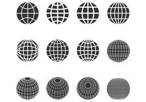 Conjunto de vetores de esferas de globos de silhueta