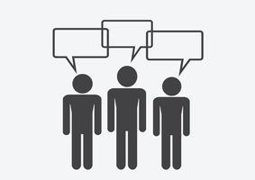 Homem, pessoas, pensando, falando, conversa, ícone, sinal, sinal, pictograma