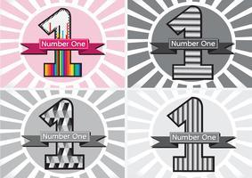 Número um e o vencedor primeiro lugar sinal simbol com fitas vetor