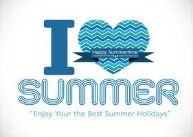 Eu amo o cartão de desenho de idéia de conceito de verão vetor