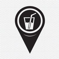 Mapa ponteiro bebida ícone vetor