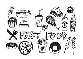 símbolos de vetor de ícones de fast-food