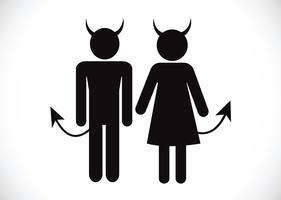 Pictograma, diabo, ícone, símbolo, sinal vetor