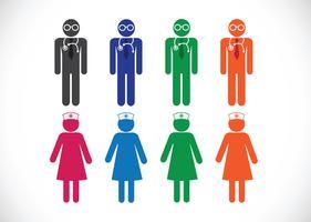 Enfermeiras e ícones de médico vetor
