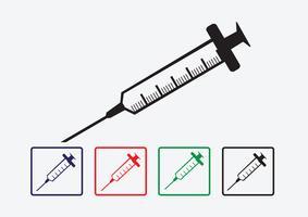 conjunto de ícones de seringa vetor