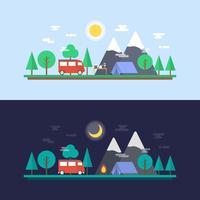 dia e noite acampamento vetor