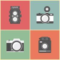 conjunto de câmera retro vetor