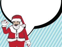 Papai Noel para mão de Natal desenhada e falando balão vetor