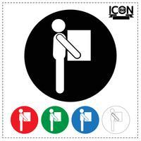 Homem, em movimento, caixa, ícone vetor