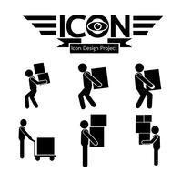 Homem, em movimento, caixa, ícone