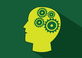 Cabeça humana, e, engrenagens, cérebro, idéia, conceito vetor