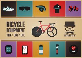 equipamento retro da bicicleta vetor