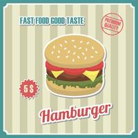 Cartaz de hambúrguer vintage vetor