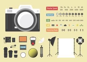 Infográfico de acessórios de câmera vetor