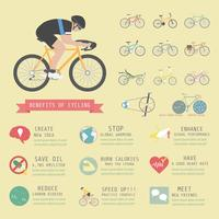 Infográfico de benefícios de bicicleta vetor