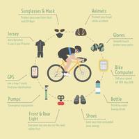 acessórios de bicicleta infográfico vetor