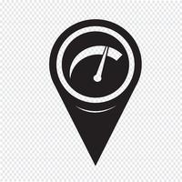 Mapa do ponteiro do carro ícone do medidor vetor