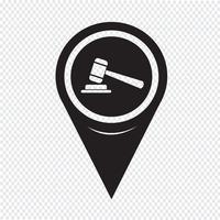 Ícone do martelo do ponteiro do mapa vetor