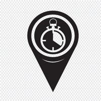 Mapa ponteiro ícone de cronômetro vetor