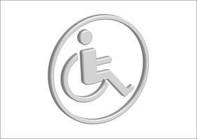 Projeto de ícone de Handicap de cadeira de rodas 3D vetor