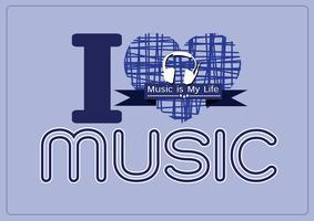 Eu amo música e música é meu tipo de fonte de palavra de vida com design de idéia de sinais vetor