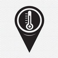 Ícone de termômetro de ponteiro de mapa vetor