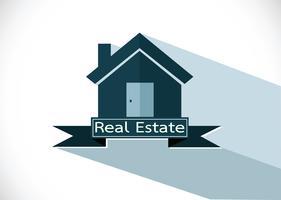 Projeto do ícone do edifício da casa dos bens imobiliários vetor