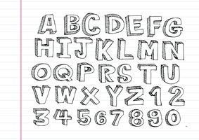 Fonte de mão desenhada letras escrita com uma caneta vetor