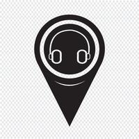 Ícone de fone de ouvido de ponteiro de mapa vetor